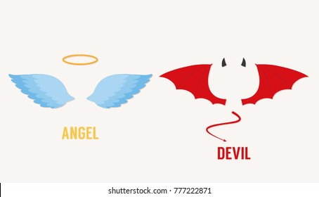 Angel and devil wings, illustration vector