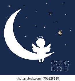 Angel dreaming. Dreams. Night.Concept idea. Good night. Christmas time. Vector illustration. EPS 8
