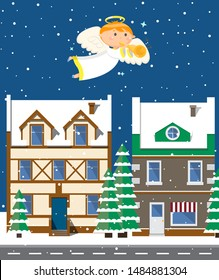 Angel in dress playing trumpet and flying over evening city in winter period of year, glossy buildings and trees covered with snow, dark outdoor, sky with stars. Christmas night. Vector cartoon style