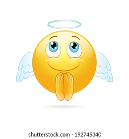 Angel emoticon  on a white background. Vector