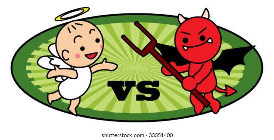 angel and evil fighting