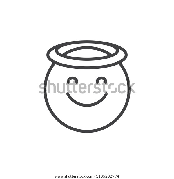 Angel Face Emoticon Outline Icon Linear Stock Vector