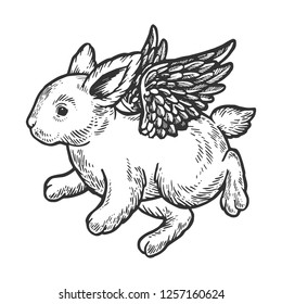 Angel flying baby little rabbit bunny engraving vector illustration. Scratch board style imitation. Black and white hand drawn image.