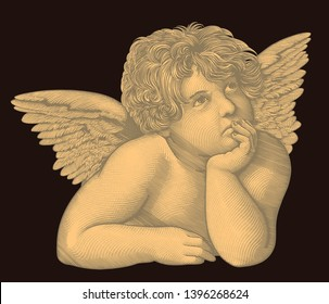 Angel from the fresco by Rafael Santi. Hand drawn engraving. Editable vector vintage illustration. Isolated on dark background. 8 EPS