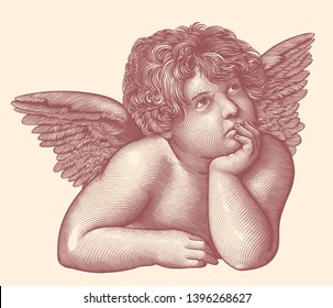 Angel from the fresco by Rafael Santi. Hand drawn engraving. Editable vector vintage illustration. Isolated on light background. 8 EPS