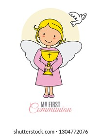 Angel girl with chalice and white dove