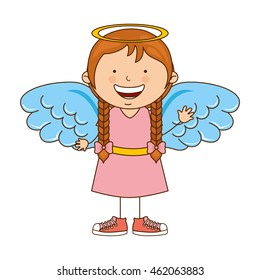 angel girl character icon vector illustration design