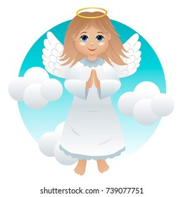 An angel girl in a white dress against a background of clouds.