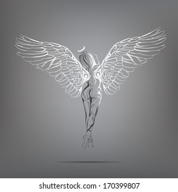 Angel girl with white wings. vector illustration