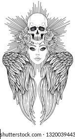 Angel girl with wings and halo. Isolated hand drawn vector illustration. Trendy Vintage style element. Spirituality, occultism, alchemy, magic. Coloring book.