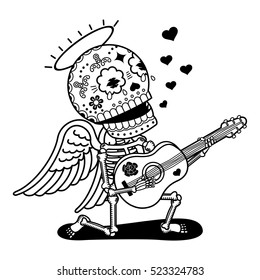 Angel with guitar sing serenade. Calaveras. Vector flat and linear Illustration of skeleton. Web banners, advertisements, brochures, business templates. Isolated on a white background.