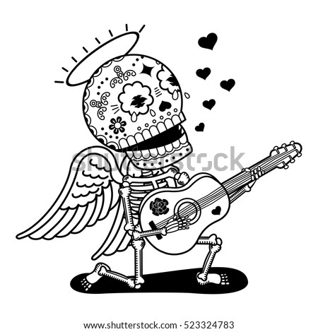 Angel with guitar sing