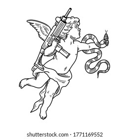 The angel with a gun and a snake can be used as tattoo