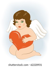angel with heart in hands