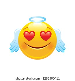 0a9039684cf Angel with hearts emoji icon. 3d face smile for love chat