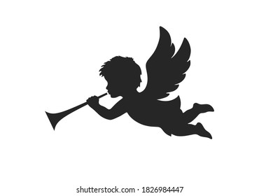angel icon. christmas day symbol. herald angel blowing trumpet. vector silhouette image