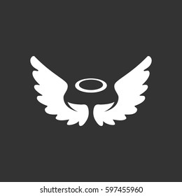 Angel icon illustration isolated on black background. Angel vector logo. Flat design style. Modern vector pictogram, sign, symbol for web graphics - stock vector