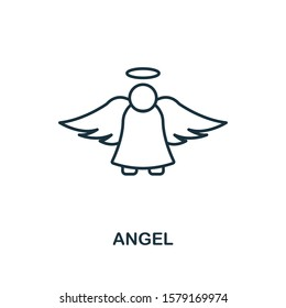 Angel icon. Line style element from christmas icon collection. Thin Angel icon for web design, apps, software, print usage.