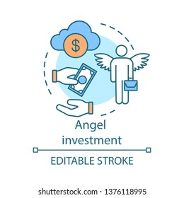 Angel investment concept icon. Business angel. Startup investing. Informal investor.  Financing. Private investor, founder idea thin line illustration. Vector isolated outline drawing. Editable stroke