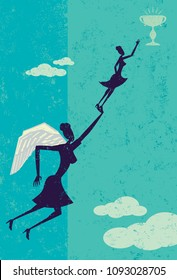 Angel Investor. A businesswoman gets help from an angel investor to achieve her goal.