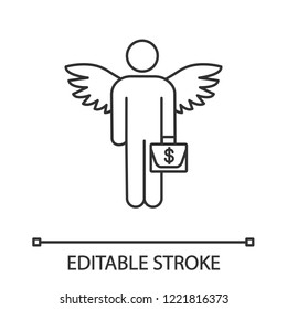 Angel investor linear icon. Business angel. Thin line illustration. Informal investor. Investment. Founder. Businessman with briefcase and wings. Contour vector isolated drawing. Editable stroke