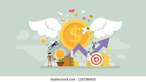 Angel Investor Tiny People Character Concept Vector Illustration, Suitable For Wallpaper, Banner, Background, Card, Book Illustration, And Web Landing Page