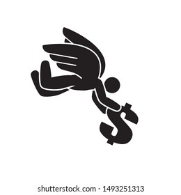 Angel investor, unexpected financial help or lottery win illustration