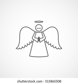 Angel Line Icon On White Background