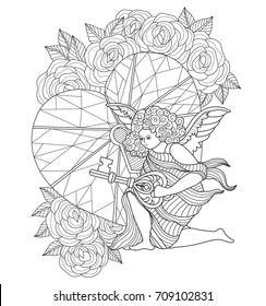 Angel of love and the key heart. Hand drawn sketch illustration for adult coloring book. Zentangle stylized cartoon isolated on white background.