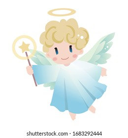 Angel with magic stick. Vector illustration