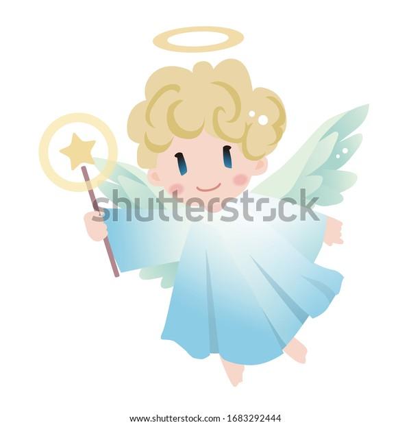 魔法の杖を持つ天使。ベクターイラスト