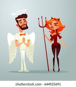 Angel man and devil woman characters. Vector flat cartoon illustration