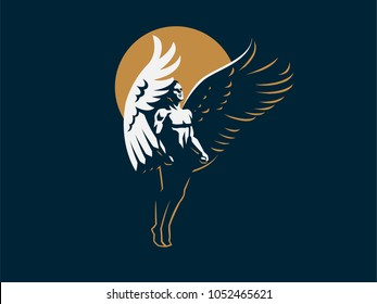 Angel man. Vector emblem.