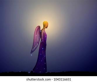 angel, night fairymiracle,  christianity  symbol, vector