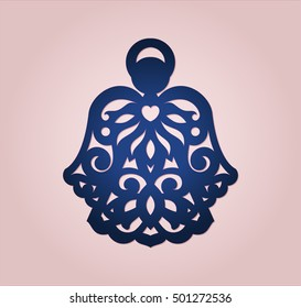 Angel ornament for wood or paper laser cutting. Christmas tree decoration. Ornamental decor for X-mas holiday. Vector file with die cut angelic silhouette.