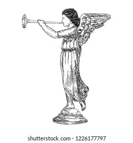 Angel playing on trumpet. Isolated black and white drawing. Vector.