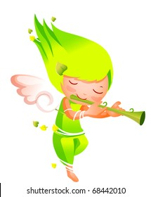 angel playing pipe