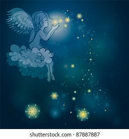 Angel plays with stars / Night sky background