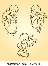 Angel Pray Sketch-Set of cute angels praying