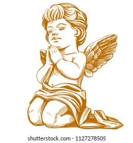 angel prays on his knees hand drawn vector illustration realistic sketch