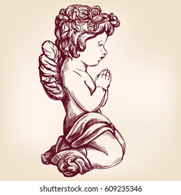 angel prays on his knees, religious symbol of Christianity hand drawn vector illustration realistic sketch