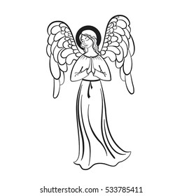 Angel prays. Vector illustration