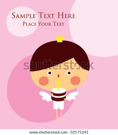 Angel Prince Birthday Greeting Card Stock Vector Royalty Free