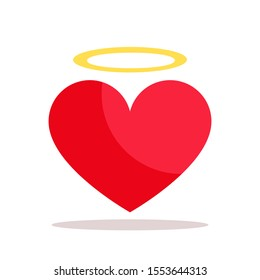 Angel red heart with yellow halo. Holy Love Valentine's Day romantic greeting card. Mercy concept. Vector illustration, flat design. Isolated on white background.