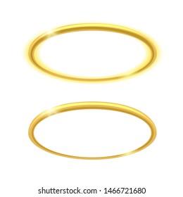 Angel ring. Vector holy glowing nimbus, saint halo illustration, heaven angeles circle element