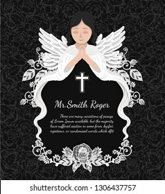 Angel with rose funeral card by hand drawing.Flower vector art highly detailed in paper cut style.