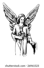 angel with roses in a graphic style