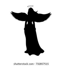 Angel silhouette christmas religious christian. Vector illustration.
