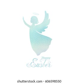 Angel silhouette and nimbus. Beautiful Flying angel and Happy Easter calligraphy text on a Watercolor blue background.