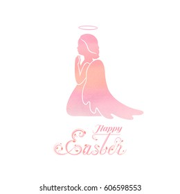 Angel silhouette and nimbus. Beautiful Sitting on his knees and praying angel and Happy Easter calligraphy text on a Watercolor pink background.